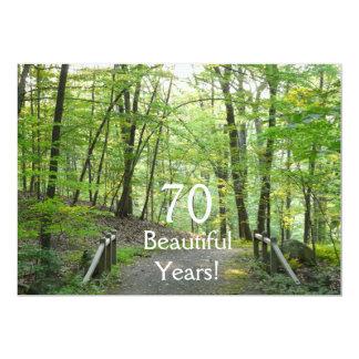 ¡70 años hermosos! - Cumpleaños+Puente del bosque Invitacion Personalizada