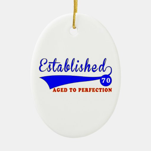 70 Birthday Aged To Perfection Double-Sided Oval Ceramic Christmas Ornament