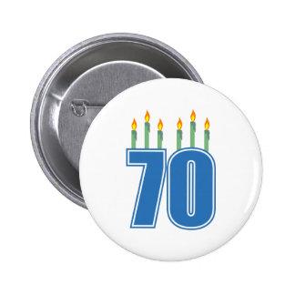 70 Birthday Candles (Blue / Green) Pinback Button