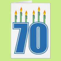 70 Birthday Candles (Blue / Green) Card