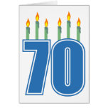 70 Birthday Candles (Blue / Green) Greeting Card
