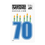 70 Birthday Candles (Blue / Green) Stamp