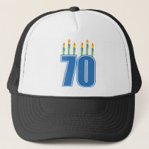 70 Birthday Candles (Blue / Green) Trucker Hat