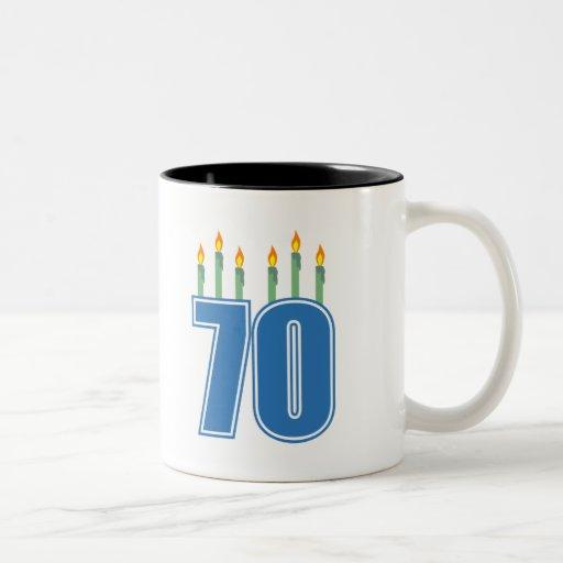 70 Birthday Candles (Blue / Green) Two-Tone Coffee Mug