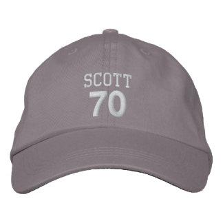 70 Birthday Custom Name WHITE Embroidery V01D Embroidered Baseball Cap