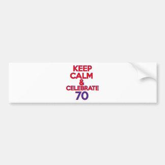 70 BIRTHDAY DESIGN BUMPER STICKER