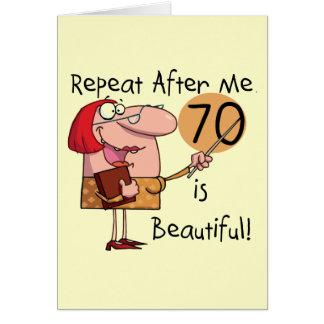 70 es camisetas y regalos hermosos tarjeta de felicitación