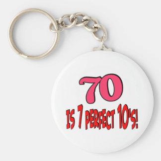 70 es los 7 años 10 perfectos (el ROSA) Llavero Redondo Tipo Pin