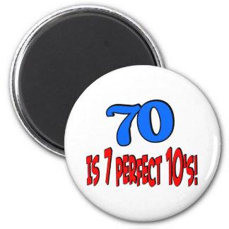 70 is 7 perfect 10's  (BLUE) Fridge Magnet