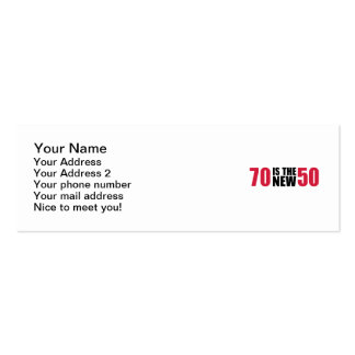 70 is the new 50 birthday business cards