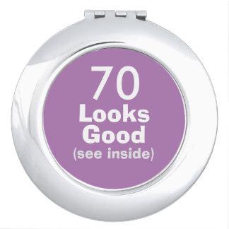 70 Looks Good © Funny 70th Birthday Gag Gift Vanity Mirror