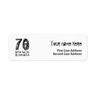70 mejor que el cumpleaños divertido Q70 de la Etiqueta De Remite