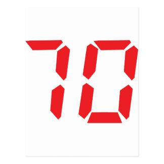 70 número digital del despertador de setenta rojos tarjeta postal