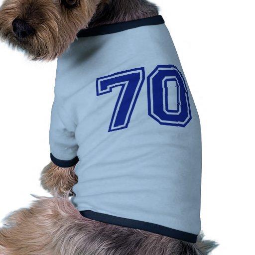 70 - número - setenta camiseta con mangas para perro