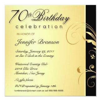 """70.o Adulto del cumpleaños - el oro elegante Invitación 5.25"""" X 5.25"""""""
