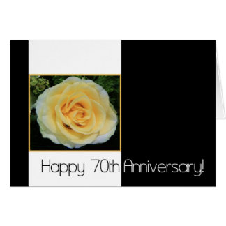 70 o Aniversario de boda - rosa amarillo Felicitaciones