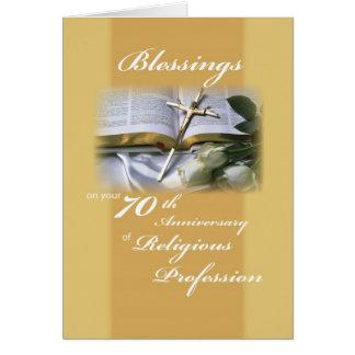 70.o Aniversario de la profesión religiosa para la Tarjeta De Felicitación