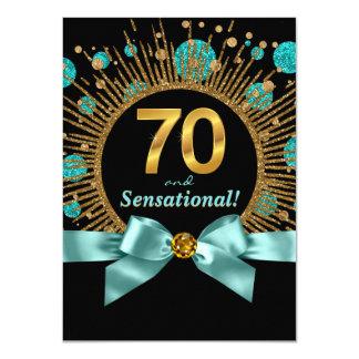 """70.o azul y oro del trullo de la fiesta del invitación 4.5"""" x 6.25"""""""