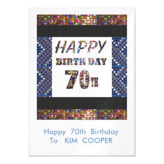 70.o cambio del cumpleaños o msg felices 70 del invitaciones magnéticas