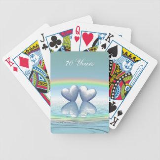 70.o Corazones del platino del aniversario Baraja Cartas De Poker