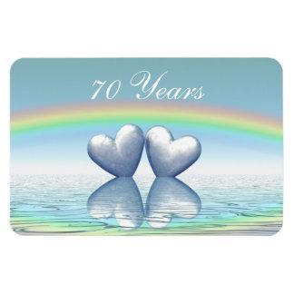 70.o Corazones del platino del aniversario Imanes