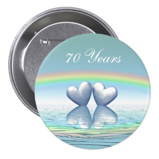 70.o Corazones del platino del aniversario Pin Redondo De 3 Pulgadas