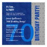 70.o Cumpleaños azul y modelo de plata reciclado Invitaciones Personales