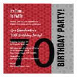 70.o Cumpleaños D848 divertido negro de plata rojo Comunicados Personalizados