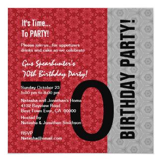 70.o Cumpleaños D848 divertido negro de plata rojo Invitación 13,3 Cm X 13,3cm