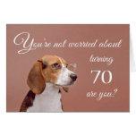 70.o cumpleaños feliz, beagle preocupante tarjeta de felicitación