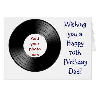 70.o cumpleaños feliz para el papá con el disco de tarjeta de felicitación