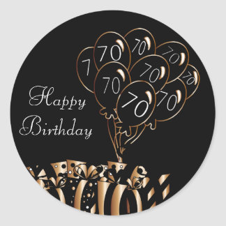 70.o cumpleaños feliz pegatina redonda