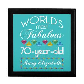 70.o Cumpleaños la mayoría de las gemas coloridas Joyero Cuadrado Grande