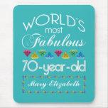 70.o Cumpleaños la mayoría de las gemas coloridas Tapetes De Ratón