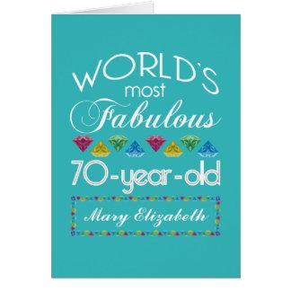 70.o Cumpleaños la mayoría de las gemas coloridas Felicitación