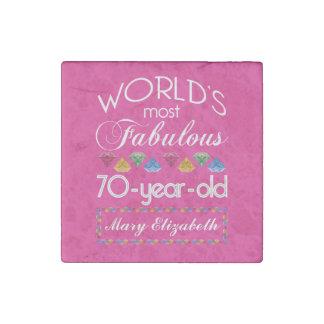70.o Cumpleaños la mayoría del rosa colorido Imán De Piedra
