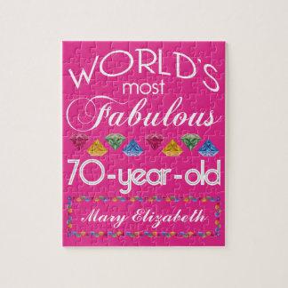 70.o Cumpleaños la mayoría del rosa colorido Puzzle