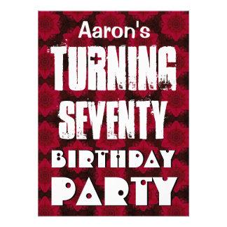 70 o cumpleaños moderno que da vuelta a sesenta es invitación personalizada