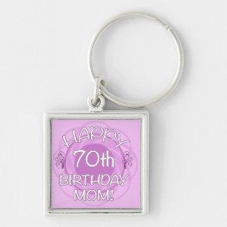 70.o Cumpleaños para la mamá Llavero Cuadrado Plateado