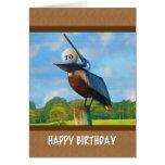 70.o Cumpleaños, pelícano con la tarjeta de la pel