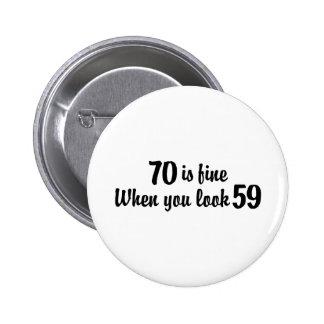 70.o Cumpleaños Pin Redondo 5 Cm