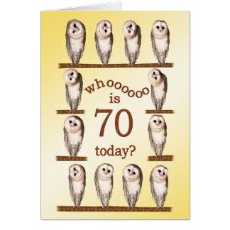 70.o cumpleaños, tarjeta curiosa de los búhos