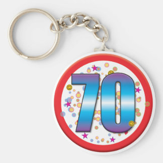 70.o Cumpleaños v2 Llavero Redondo Tipo Pin