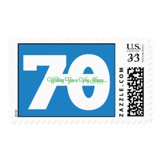 70 o franqueo feliz del cumpleaños en azul