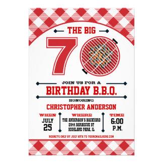 70 o Invitación de la barbacoa del cumpleaños