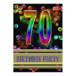 70.o Invitación de la fiesta de cumpleaños con las
