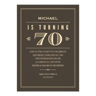70 o Invitaciones del cumpleaños para los hombres