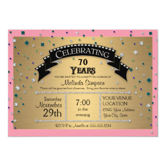 70.o La fiesta de cumpleaños celebra falso confeti Comunicado Personalizado