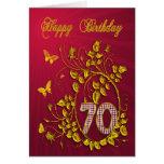 70.o Mariposas de oro del cumpleaños Felicitacion