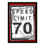 70.o Muestra sucia del límite de velocidad de la f Invitacion Personalizada